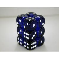 Transulent Blue/White 12x16mm D6