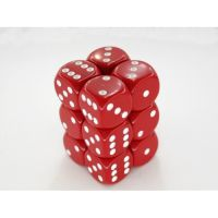 Opaque Red/White Piped 12x16mm D6