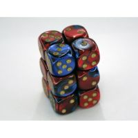 Gemini Blue-Red/Gold 12x16mm D6