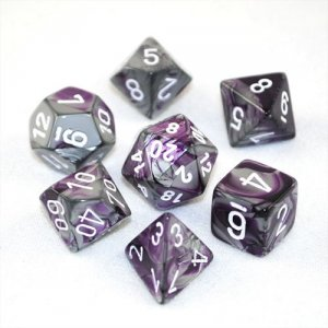 CHESSEX RPG GEMINI PURPLE-STEEL/WHITE
