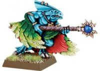 Lizardmen Skink Priest with Feathered Cloak